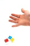 Dices in the air. Colorful dices in air royalty free stock images