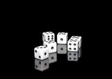The dices on  black Stock Photos