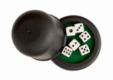 Dices with black cup Royalty Free Stock Images