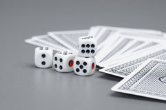 Dices and card Royalty Free Stock Photos