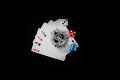 Dices and cards Royalty Free Stock Images