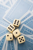 Dices and cards games Royalty Free Stock Photos