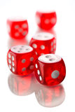 Dices of the casino. On white table Royalty Free Stock Photos