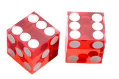 Dices of the casino. A over white background Royalty Free Stock Photo
