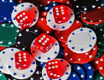 Dices Casino background. Casino dices Close up on gambling chips background Stock Images