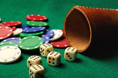 Dices  casino chips Stock Photos