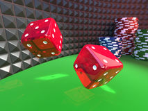 Dices on a casino table Stock Photography