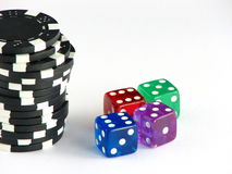 Dices and chips Royalty Free Stock Photos