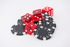 Dices and chips. White background Stock Photography
