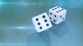 Dices closeup with a green background. Two white dices with a black dotes closeup with a green background Royalty Free Stock Images