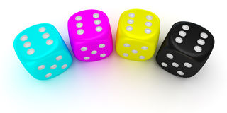 Dices of cmyk colors Stock Photo