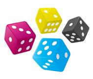 Dices with CMYK colors. Stock Photography