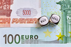 Dices cubes, RUB, EUR  banknotes Stock Photos