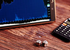 Dices cubes,tablet, financial chart, calculator. Royalty Free Stock Photography