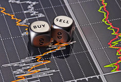Dices cubes to trader. Cubes with the words SELL BUY Royalty Free Stock Photography