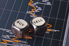 Dices cubes to trader. Cubes with the words SELL BUY. Stock Photo