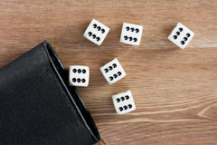 Dices with cup Stock Images