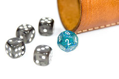 Dices with dice cup Stock Photo