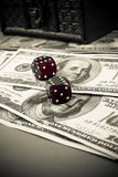 Dices on dollars Stock Image