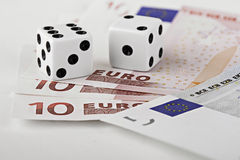 Dices on euro currency. Bank notes Stock Image