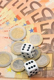Dices and euro money. Dices, coins and euro money Stock Images