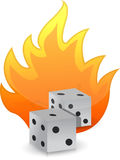 Dices on fire illustration design. Over white background Royalty Free Stock Photos