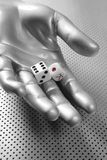Dices gambling hand futuristic metaphor Royalty Free Stock Image