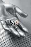 Dices gambling hand futuristic metaphor Royalty Free Stock Images