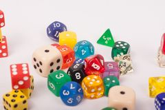 Dices games on a white  background royalty free stock photos