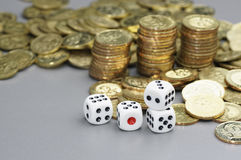 Dices and Gold coins Royalty Free Stock Photography