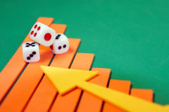 Dices on a graph. For business concept Stock Images