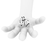 Dices in a hand. 3 dices in a human hand Royalty Free Stock Image