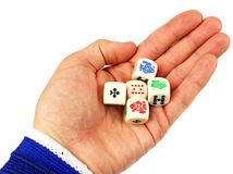 Dices in hand Royalty Free Stock Photos