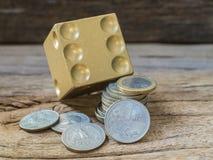 Dices i dobierający monety Fotografia Royalty Free