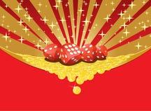 Dices i spadać złote monety uprawia hazard tło Royalty Ilustracja