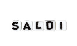 Dices with letters forming word: saldi Stock Photo
