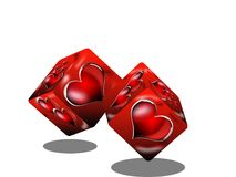 Dices of love. Red hearts on two dices Royalty Free Stock Images