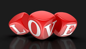 Dices and love (clipping path included) Stock Images