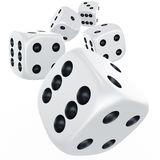 Dices in mid air Royalty Free Stock Photography
