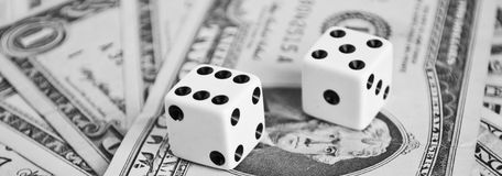 Dices on money Royalty Free Stock Photos