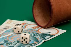Dices and money Stock Photos