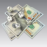 Dices and money Royalty Free Stock Photos