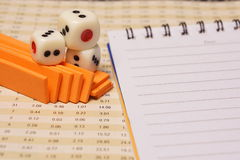 Dices with notepad. For business concept Royalty Free Stock Image