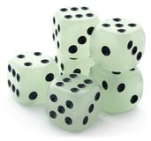 Dices over white background. Closeup of dices over white background Royalty Free Stock Photo