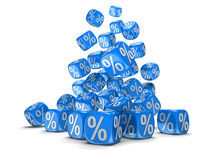 Dices with percent sign Stock Images