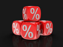 Dices with percent sign Stock Image