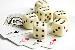 Dices and playing cards Stock Photography