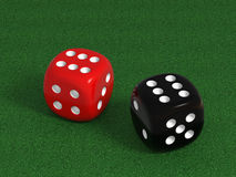 Dices on a poker table. Very high resolution 3d rendering of two dices on the green table Stock Photography