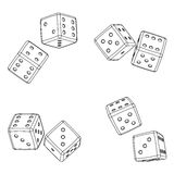 Dices projections. Color background. Vector illustration, imitation 3d Stock Image