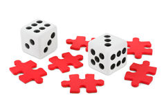 Dices and puzzle Royalty Free Stock Photo